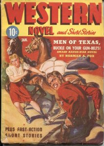 WESTERN NOVEL AND SHORT STORIES--JAN 1943-NORMAN SAUNDERS COVER-- PULP THRILL...