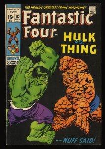 Fantastic Four #112 FN/VF 7.0 Hulk Vs Thing! Marvel Comics