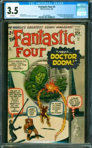 Fantastic Four #5 CGC Graded 3.5 Origin and 1st appearance of Dr. Doom. Full ...