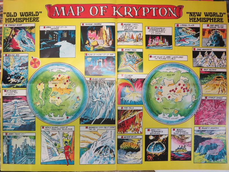 Amazing World of Superman- Map of Krypton! 1973 Bronze Age Rich + Storied Planet