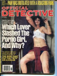 Official Detective 6/1985-lurid strangulation cover-porno girl-pulp crime-G/VG