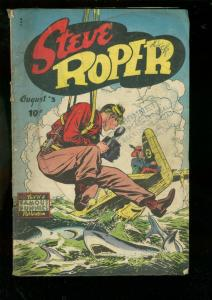 STEVE ROPER #3 1948-SHARK & PARACHUTE COVER-BILL WOGGON VG-