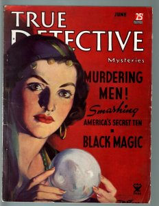TRUE DETECTIVE MYSTERIES JUN 1935-CRYSTAL BALL CVR-BLACK MAGIC-VOODOO-CRIM VG