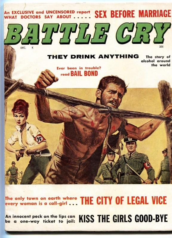BATTLE CRY 12/1961-NAZI BABE MENACES GI-TORTURE-EXPLOITATION-