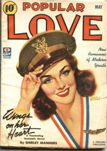 POPULAR LOVE-1943 MAY-EARLE BERGEY MILITARY PIN-UP GIRL COVER-PULP FICTION