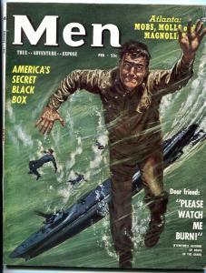 Men Magazine February 1953-ATLAS-SUBMARINE CRASH COVER/ELECTRIC CHAIR VF