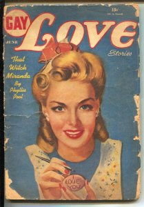 Gay Love Stories 6/194o-Columbia-pulp fun-pin-up girl cover-That Witch Miranda-G