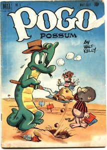 POGO POSSOM #5-1951-WALT KELLY ART-GOPHER HOLE COVER-DELL-10 CENT ISSUE