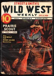 WILD WEST WEEKLY-10/3/1936-PULP-KID WOLF-RISKY MCKEE VG