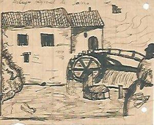 DIBUJO 3662: Dibujo boceto en lapiz. Molino de agua