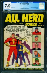 All Hero #1 CGC 7.0-1st Banshee O'Brien-Fawcett-Golden-Age 1479118009