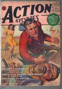 Action Stories 10/1941-Norman Saunders bondage cover-Walt Coburn-Bart Cassidy-VG