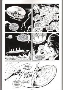 RONN SUTTON ELVIRA #148 ORIGINAL ART PAGE 4-FLYING SAUCER PAGE--QUEEN 'B PROD FN