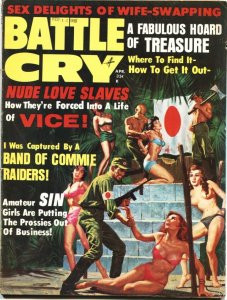 BATTLE CRY-APR 1968-COMMIE RAIDERS-WW II-BONDAGE-PULP THRILLS-CHEESECAKE