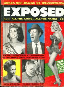 Exposed #12 2/1957-Diana Dors-Eartha Kitt-Hemingway-Natalie Wood-G-