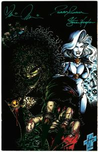 Evil Ernie Revenge #1 CCC Green Foil Ltd Edition Signed 3x w/COA Barf Bag VF/NM