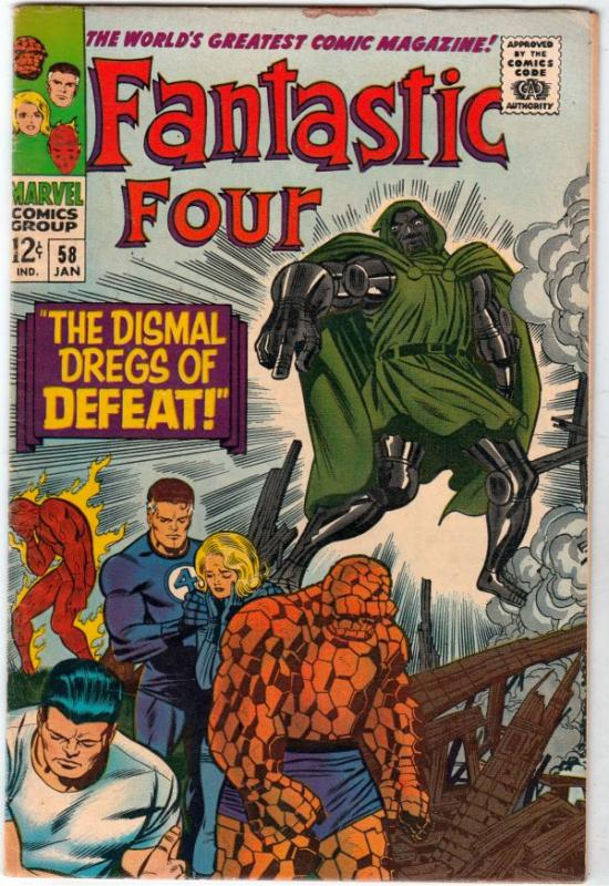 Fantastic Four #58 (Jan-67) FN+ Mid-High-Grade Fantastic Four, Mr. Fantastic ...