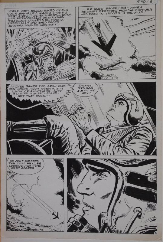Original art, TIGER MIG alley, War, Recon, pg 5, 10.5x15.5, 1975, Jet fighter