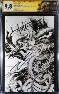 Venom #28 CGC 9.8 SS 3x signed Cates Stegman Kirkham Secret Sketch B&W