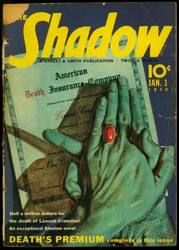 The Shadow Pulp January 1 1940- Death's Premium- Maxwell Grant G/VG