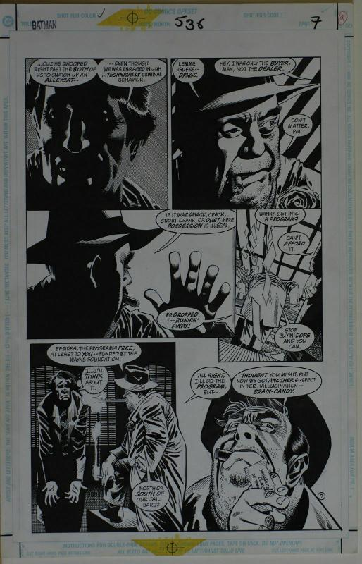 KELLEY JONES / JOHN BEATTY original art, BATMAN #538 pg 7, 11x17, 1996, Drugs