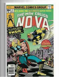 NOVA #4 - NM - CLASSIC NOVA VS THOR COVER - HIGH GRADE BRONZE AGE KEY - MCU