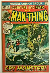 ADVENTURE INTO FEAR#10 FN 1972 FIRST MAN-THING SOLO MARVEL BRONZE AGE COMICS