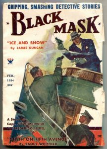 BLACK MASK--HARD BOILED PULP DETECTIVE STORIES--FEB 1934--GUN FIGHT COVER