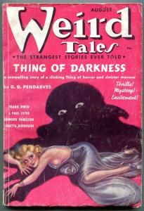 Weird Tales Pulp August 1937- Thing of Darkness- Brundage cover VG
