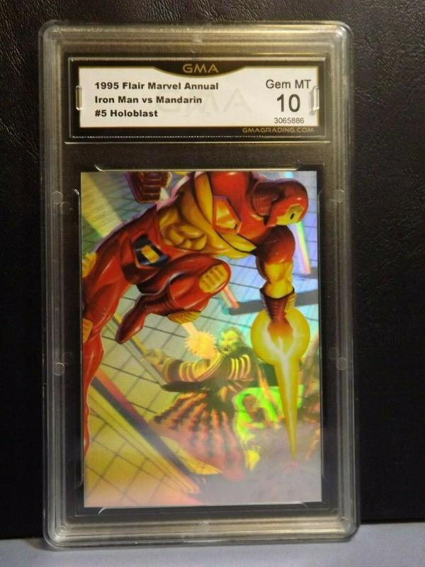 1995 Flair Marvel Annual Holoblast Card #5 IRON MAN Graded GEM MT 10 LIMTED RARE