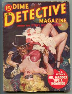 Dime Detective Pulp 8/49- Great Saunders headlight cover