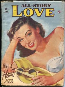 All-Story Love 8/1953-Swimsuit girl portrait pin-up cover-pulp romance-VG