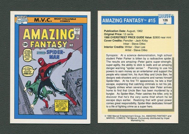 1990 Marvel Comics Card  #126 (Amazing Fantasy #15 Cover) / MINT