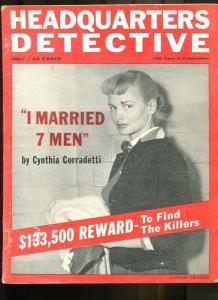 HEADQUARTERS DETECTIVE JUL 1957-CRIME-PULP-MAGAZINE-JOHN DILLINGER G/VG