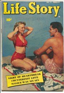 Life Story #11 1950-Fawcett-swimsuit photo cover-Marc Swayze art-spicy pics-VG