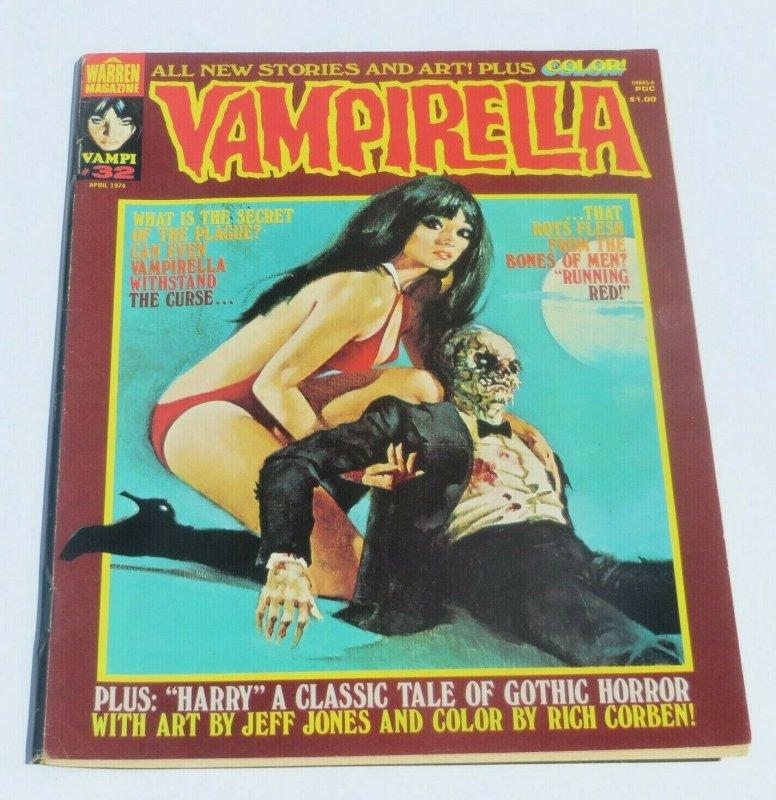 Vampirella #32 FN 1974 Gothic Horror Magazine Fantasy Vampires Running Red Bones