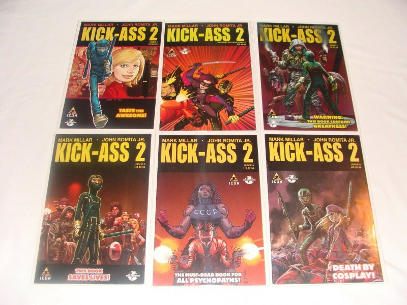 Kick-Ass 2 #1 -7 1 2 3 4 5 6 7 W/ Cosplay Variants (2011, Icon/Marvel) LOT of 11