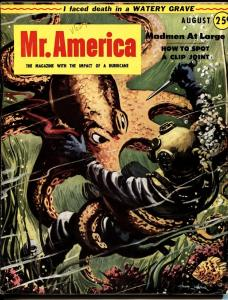 Mr. America 8/1953 Octopus attack cover-pulp-bad mags