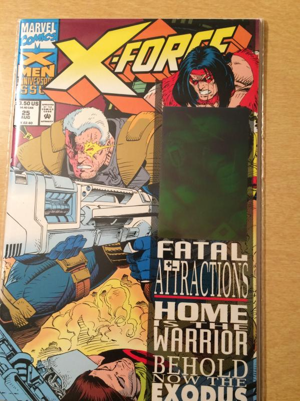 X-Force #25 Fatal Attractions Holographic Sticker on cover