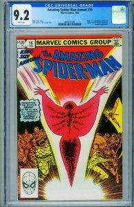 AMAZING SPIDER-MAN ANNUAL #16 CGC 9.2 1st Monica Rambeau 3810015001