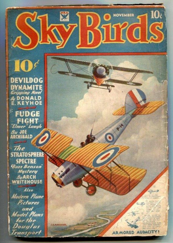 Sky Birds Pulp November 1934- Devildog Dynamite VG-