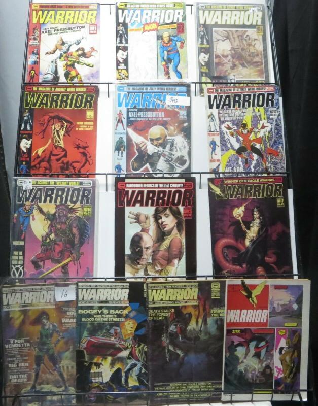 WARRIOR MAGAZINE LOT! 13 issues!Alan Moore!Marvelman (MiracleMan),V for Vendetta