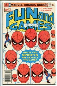MARVEL FUN AND GAMES #3 1979-UNWORKED PUZZLES AND GAMES-SPIDERMAN-vf minus
