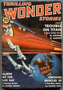 Thrilling Wondering Stories Pulp February 1941-Save Earth cover-Trouble on Titan