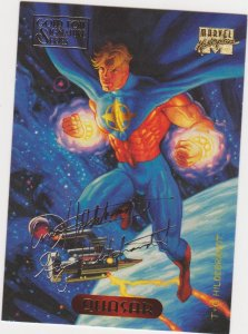 1994 Marvel Masterpieces Gold Foil Signature Series #96 Quasar/Hildrebrant