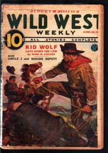 WILD WEST WEEKLY 4/30/1938-WESTERN PULP-KID WOLF G