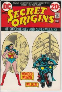 Secret Origins #3 (Aug-73) NM- High-Grade Wonder Woman, Wildcat