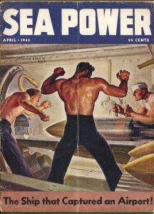 Sea Power 4/1943-McClelland Barclay cover art-war pix &info-rare-Desert Fox-G/VG