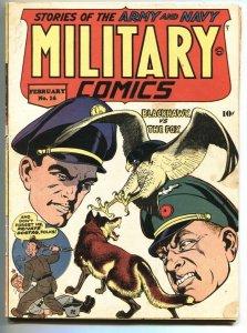 Military Comics #16 1944- BLACKHAWK- WWII Blue Tracer VG-