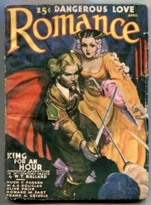 Romance Pulp April 1940-King for an Hour- G